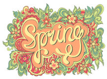 Spring hand lettering. Vector floral calligraphic banner Stock Image