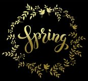 Spring Handwritten Brashpen Luthering Spring in golden wreath on Royalty Free Stock Photo