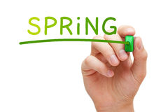 Spring Handwritten With Green Marker Stock Image
