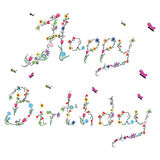 Spring Happy Birthday sign in colour with floral elements Stock Images