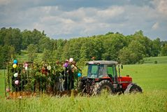 Spring hayride on farm royalty free stock photo
