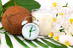 Spring healthcare concept with coconut, coco milk, flower and cl Royalty Free Stock Photography