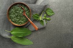 Nettle and wild garlic soup stock image