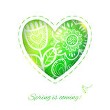 Spring Heart card with Flower. Royalty Free Stock Photo