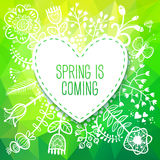 Spring Heart card with Flower. Vector illustration, can be used Stock Photos