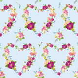 Spring Hearts Flowers Background. S - Seamless Floral Shabby Chic Pattern - in vector Royalty Free Stock Image