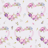 Spring Hearts Flowers Backgrounds. Seamless Floral Shabby Chic Pattern - in vector Royalty Free Stock Photo