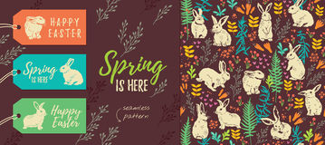 Spring is here. Set of Easter tags and seamless pattern Stock Photography