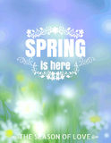 Spring Is Here Typographical Background blur vector format eps 1 Royalty Free Stock Photos