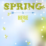 Spring is here words Stock Image