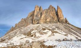 Spring hike around Tre Cime di Lavaredo massive. Royalty Free Stock Photography