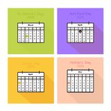 Spring holiday card collection. Collection of color cards with calendars for spring holidays - St. Patricks Day, April Fools Day, Easter, Mother's day Royalty Free Stock Photography