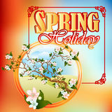 Spring Holiday design template; Spring scene with branch blossom in medallion Stock Images