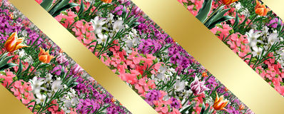 Spring Holiday floral background. Spring flowers abstract background, poster. Digital Illustration. Spring Holiday background with colorful flowers and tulips royalty free illustration