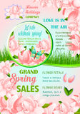 Spring holiday flowers festive poster design. Spring holidays flower festive poster. Pink flowers of peony and lotus frame with butterfly and spring grass border Stock Photos