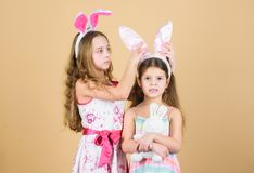 Spring holiday. Happy childhood. Easter day. Easter activities for children. Happy easter. Holiday bunny girls with long. Bunny ears. Children bunny cose royalty free stock images