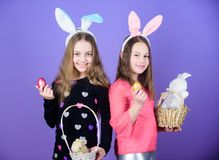 Spring holiday. Happy childhood. Easter day. Easter activities for children. Happy easter. Holiday bunny girls with long. Bunny ears. Egg and bunny holiday stock photos