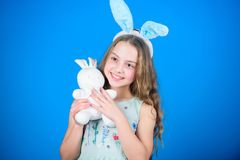 Spring holiday. Happy childhood. Happy easter. Ready for Easter day. Easter activities for children. Holiday bunny girl. With long bunny ears. Child cute bunny royalty free stock photos
