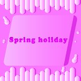 Spring holiday inscription in pink color. And light background Royalty Free Stock Image