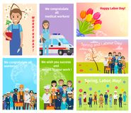 Spring Holiday Labour Day in May for All Workers. Vector illustration. Set of congratulatory cards with flowers and humans of different occupations Stock Photography