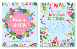Spring holiday poster with flower and berry wreath. Happy spring and springtime holidays poster with spring wild flower and berry wreath. Greeting card with stock illustration