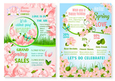 Spring holiday promo sale flowers vector posters Stock Image