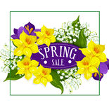 Spring holiday sale vector poster flowers bouquet Royalty Free Stock Image