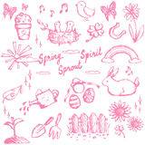 Spring holiday season doodle animal, plant and flower, leisure a Stock Images