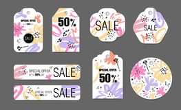Spring holiday tags set with abstract flower background. Vector design Sale, Price offer elements on white. For spring, summer seasons, Valentines day, Mothers stock illustration