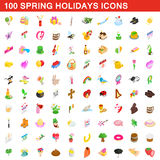 100 spring holidays cons set, isometric 3d style. 100 spring holidays icons set in isometric 3d style for any design vector illustration Stock Photography