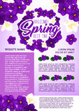 Spring holidays floral wreath greeting poster Stock Photography