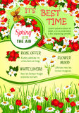 Spring holidays flower wreath greeting poster Royalty Free Stock Photography