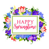 Spring holidays greeting card with floral frame Stock Image