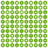 100 spring holidays icons hexagon green. 100 spring holidays icons set in green hexagon isolated vector illustration Stock Photos