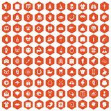 100 spring holidays icons hexagon orange. 100 spring holidays icons set in orange hexagon isolated vector illustration royalty free illustration
