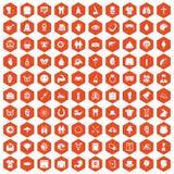 100 spring holidays icons hexagon orange. 100 spring holidays icons set in orange hexagon isolated vector illustration Royalty Free Stock Photos