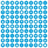 100 spring holidays icons set blue. 100 spring holidays icons set in blue hexagon isolated vector illustration Vector Illustration