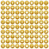 100 spring holidays icons set gold. 100 spring holidays icons set in gold circle isolated on white vector illustration Stock Photos