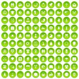100 spring holidays icons set green. 100 spring holidays icons set in green circle isolated on white vectr illustration Royalty Free Stock Image