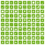 100 spring holidays icons set grunge green. 100 spring holidays icons set in grunge style green color isolated on white background vector illustration Stock Photo
