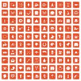 100 spring holidays icons set grunge orange. 100 spring holidays icons set in grunge style orange color isolated on white background vector illustration Stock Photos