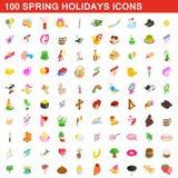 100 spring holidays cons set, isometric 3d style. 100 spring holidays icons set in isometric 3d style for any design illustration royalty free illustration