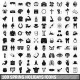 100 spring holidays icons set, simple style. 100 spring holidays icons set in simple style for any design vector illustration Royalty Free Stock Images