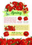 Spring holidays poster with springtime flower Royalty Free Stock Photography