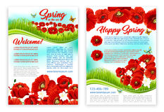 Spring holidays poster template with poppy flower Royalty Free Stock Image