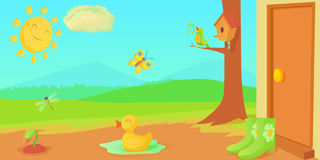 Spring horizontal banner things , cartoon style Royalty Free Stock Images