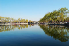 Spring in Houhai, Beijing. Houhai is a lake and its surrounding district in central Beijing, one of the three bodies of water composing the Shichahai. In recent Stock Photos