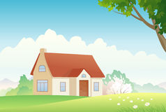 Spring house. Illustration of a spring countryside Stock Image