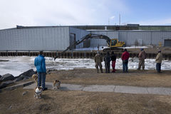 Spring Ice Breaking  - Ganaraska River in Port Hope, Ontario Royalty Free Stock Image