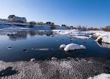 Spring ice drift on the Miass River, Chelyabinsk royalty free stock image